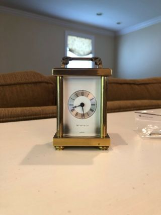 Vintage Tiffany & Co.  Brass Carriage Clock - Swiss Made,  Quartz Movement