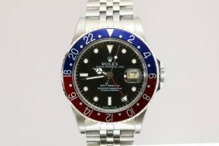 Vintage Rolex Gmt Master Pepsi Bezel Automatic Project Watch Ref 16753 1980s
