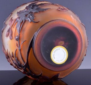 EXTREMELY RARE c1920 EMILE GALLE MOLD - BLOWN CLEMATIS CAMEO ART GLASS VASE 10