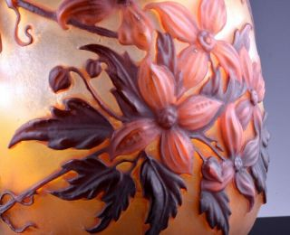 EXTREMELY RARE c1920 EMILE GALLE MOLD - BLOWN CLEMATIS CAMEO ART GLASS VASE 7
