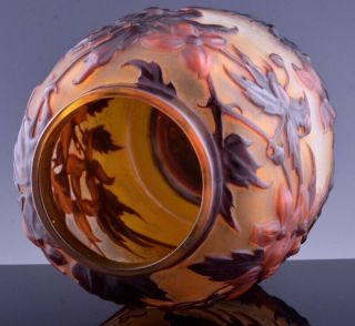EXTREMELY RARE c1920 EMILE GALLE MOLD - BLOWN CLEMATIS CAMEO ART GLASS VASE 9
