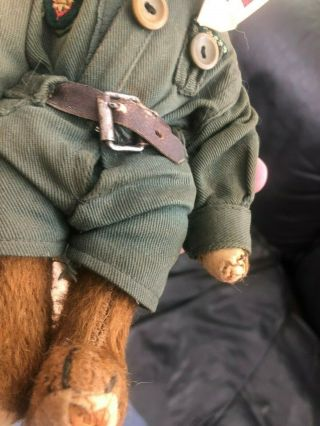 Very sweet Antique 1920 - 30s Small Mohair Bing Teddy Bear - Boy scout 11