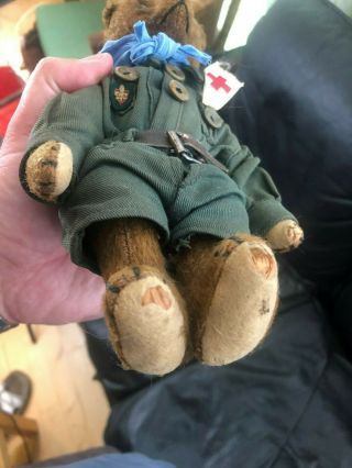 Very sweet Antique 1920 - 30s Small Mohair Bing Teddy Bear - Boy scout 12