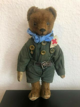Very Sweet Antique 1920 - 30s Small Mohair Bing Teddy Bear - Boy Scout