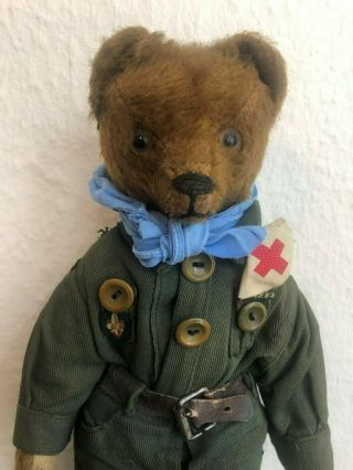 Very sweet Antique 1920 - 30s Small Mohair Bing Teddy Bear - Boy scout 2