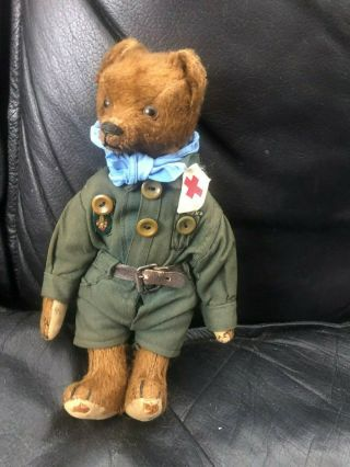 Very sweet Antique 1920 - 30s Small Mohair Bing Teddy Bear - Boy scout 3
