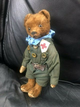 Very sweet Antique 1920 - 30s Small Mohair Bing Teddy Bear - Boy scout 4