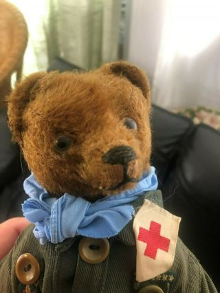 Very sweet Antique 1920 - 30s Small Mohair Bing Teddy Bear - Boy scout 5