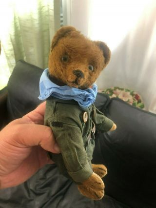 Very sweet Antique 1920 - 30s Small Mohair Bing Teddy Bear - Boy scout 7