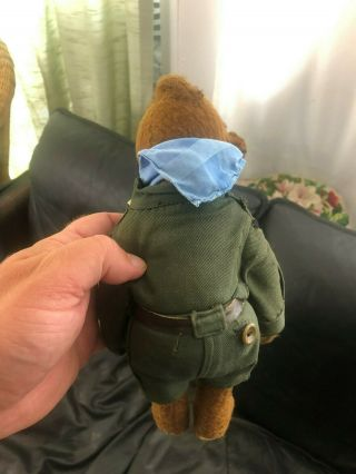 Very sweet Antique 1920 - 30s Small Mohair Bing Teddy Bear - Boy scout 8
