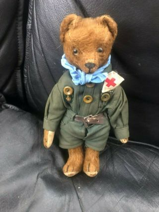 Very sweet Antique 1920 - 30s Small Mohair Bing Teddy Bear - Boy scout 9