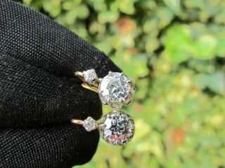 French Vintage 18ct White Yellow Gold Old Cut Diamond Dormeuses Earrings