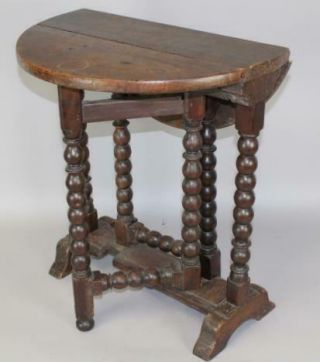 A Rare Pilgrim 17th C Hudson Valley Trestle Foot - Ball Turned Tuck Away Table