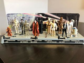Vintage Kenner Star Wars First 12 Figures And Display Stand With Vinyl Cape Jawa