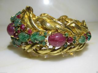 VINTAGE CARTIER TUTTI FRUTTI 18KT GOLD EMERALD RUBY DIAMOND BRACELET FRANCE 3