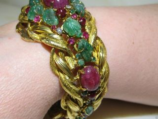 VINTAGE CARTIER TUTTI FRUTTI 18KT GOLD EMERALD RUBY DIAMOND BRACELET FRANCE 5