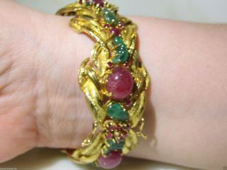 VINTAGE CARTIER TUTTI FRUTTI 18KT GOLD EMERALD RUBY DIAMOND BRACELET FRANCE 7