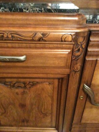 1920 Art Deco Buffet French Carved Walnut Marble Top 4