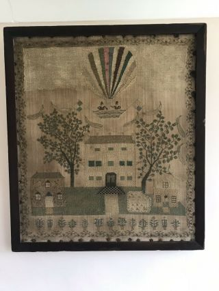 Rare Georgian Sampler Hot Air Balloon