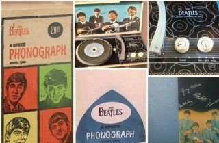 Rare 1964 Beatles Phonograph Record Player W/ Box & Booklet Exc Plays