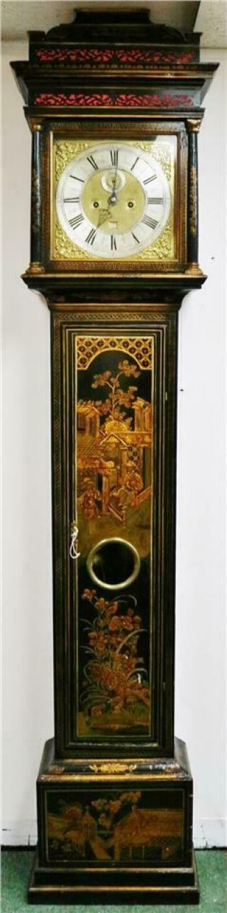 Luxury Antique 17thc English London Black Chinoiserie Grandfather Longcase Clock