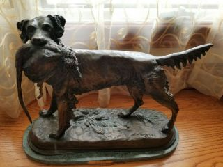 Setter with Pheasant on Marble Base by Moigniez - Antique Hunting Bronze Dog 2