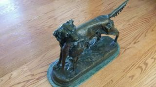 Setter with Pheasant on Marble Base by Moigniez - Antique Hunting Bronze Dog 4