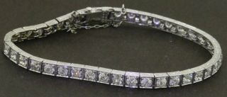 Antique Art Deco Platinum Elegant 8.  0ctw Vs - Si Diamond Fancy Link Bracelet