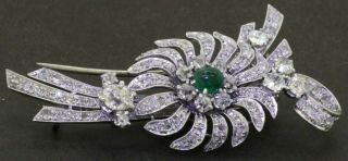 Antique Platinum Hallmarked 5.  40ct Vs Diamond & Emerald Floral Brooch