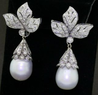 Vintage Heavy 18k Wg 6.  5ct Vs Diamond/14.  8mm South Seas Pearl Day/night Earrings