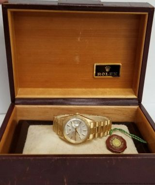 Vintage 1807 Rolex President 1970s 18k Gold Orig Bark Mens Awesome Watch W Box