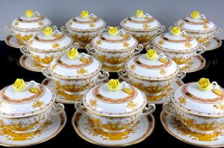Set Of 12 Herend Hungary Yellow Indian Basket Lidded Handled Soup Cups & Saucers