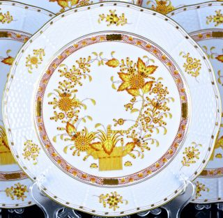 SET OF 12 HEREND HUNGARY YELLOW INDIAN BASKET PATTERN 10 INCH DINNER PLATES N/R 2