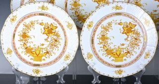 SET OF 12 HEREND HUNGARY YELLOW INDIAN BASKET PATTERN 10 INCH DINNER PLATES N/R 3