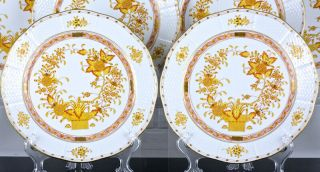 SET OF 12 HEREND HUNGARY YELLOW INDIAN BASKET PATTERN 10 INCH DINNER PLATES N/R 4