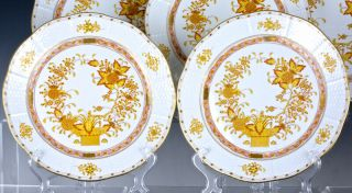 SET OF 12 HEREND HUNGARY YELLOW INDIAN BASKET PATTERN 10 INCH DINNER PLATES N/R 5