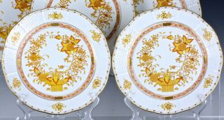 SET OF 12 HEREND HUNGARY YELLOW INDIAN BASKET PATTERN 10 INCH DINNER PLATES N/R 6