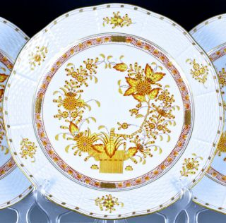 SET OF 12 HEREND HUNGARY YELLOW INDIAN BASKET PATTERN 10 INCH DINNER PLATES N/R 7