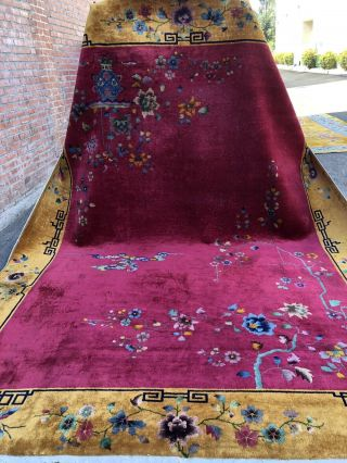 Auth: Antique Art Deco Chinese Rug Nichols Hot Red & Yellow Beauty 9x12 Nr