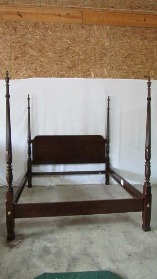 Thomasville Mahogany Rice King Bed Bedroom Set Carved