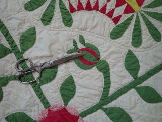 Pattern 19th c Whigs Defeat Twirling Bud Antique QUILT 12
