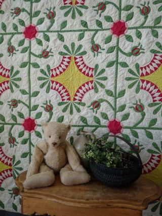 Pattern 19th c Whigs Defeat Twirling Bud Antique QUILT 3