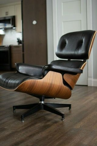 2015 Herman Miller Eames Lounge Tall Chair & Ottoman Walnut Black Leather