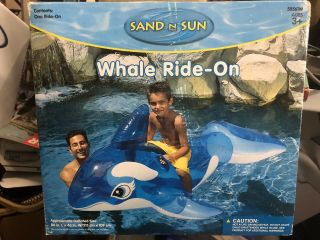 "Sand And Sun Whale Inflatable Pool Ride - On,  84"" Clear Rare Vintage"