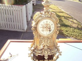 Antique French Ornate Brass Mantel Clock,  Cond,  1870 To 1890