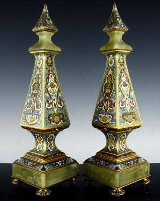 Pair 19c French Champleve Cloisonne Enamel Gilt Bronze Clock Garniture Obilisks