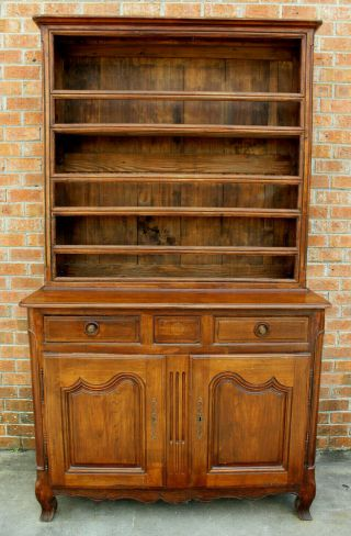 Antique Early 19th C French Country Walnut Cupboard Cabinet Vaisselier Hutch