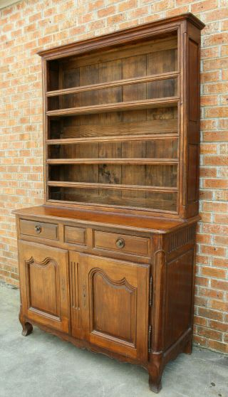ANTIQUE EARLY 19TH C FRENCH COUNTRY WALNUT CUPBOARD CABINET VAISSELIER HUTCH 2
