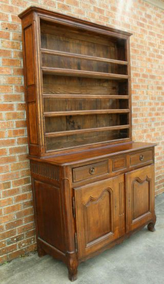 ANTIQUE EARLY 19TH C FRENCH COUNTRY WALNUT CUPBOARD CABINET VAISSELIER HUTCH 3