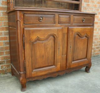 ANTIQUE EARLY 19TH C FRENCH COUNTRY WALNUT CUPBOARD CABINET VAISSELIER HUTCH 6